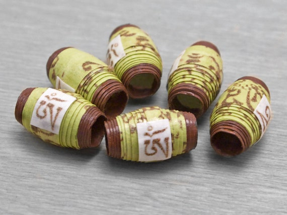 Mantra Beads - Om Prayer Scroll Handmade Paper Beads - Om Mani Padme Hum -Spring Green - 6 pcs