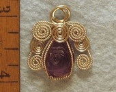 Amethyst Carved Rose Angel in Argentium Sterling Silver Wire Wrapped Cage Pendant Number 4 of 500
