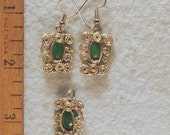 Green Aventurine Wire Wrapped Filigree Earrings and Pendant Set