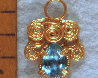 Topaz Angel Gold Filled Wire Wrapped Pendant Number 1 of 500