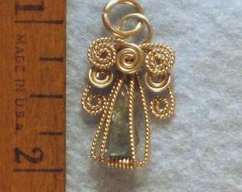 Facet Rough Apatite Angel in Argentium Sterling Silver Wire Wrapped Pendant Number 1 of 500