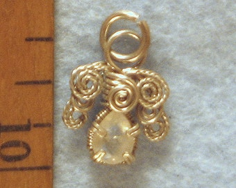 Moonstone Angel in Argentium Sterling Silver Wire Wrapped Pendant Number 1 of 500