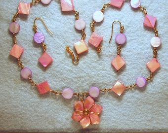 Pink and Purple Carved Mother of Pearl Wire Wrapped Necklace and Earrings Set