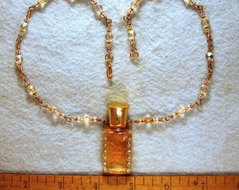 Rose Oil Necklace with Czech Fire Polisheed Glass Beads