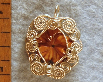 Carved Mother of Pearl Flower Pendant in Argentium Sterling Silver Wire Number 3 of 500