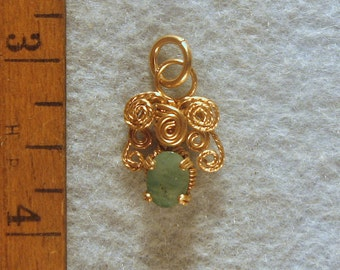 Emerald Angel in Gold Filled Wire Wrapped Pendant Number 4 of 500