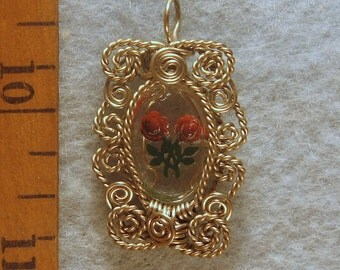 Vintage Glass Cameo Wire Wrapped Pendant