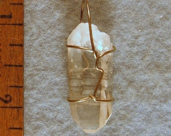 Healing Clear Grounding Arkansas Crystal Wire Wrapped Pendant