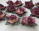 12 Small Burgundy Paper Roses