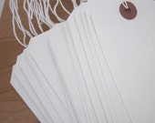 50 Extra Large Strung White Card Tags