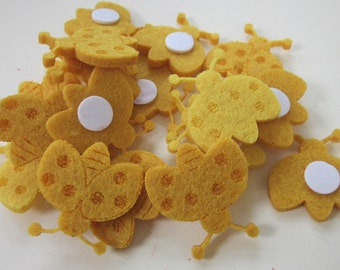 20 Bright Yellow Ladybug Foam Embellishment Card Toppers