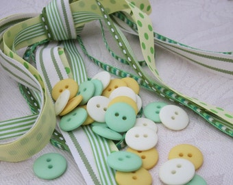 Spring Green Ribbon and Button Craft Pack