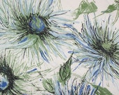 Reclaimed piece of vintage sateen blue, white and green abstract flower 60s 70s