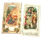 Antique Catholic Keepsake Prayer Cards - early 1900s - set of two