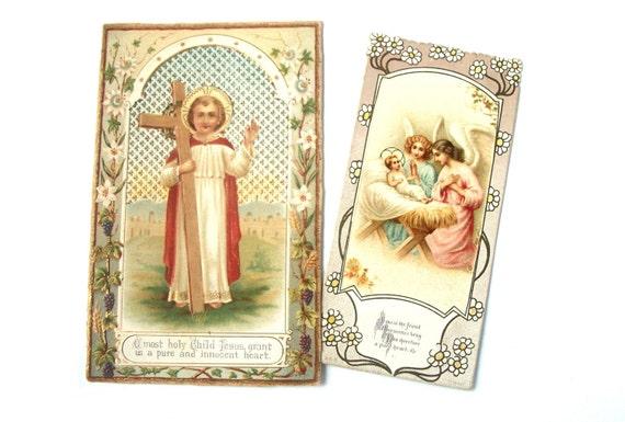 Vintage set of two Religious Jesus Christian Keepsake Cards - early 1900s