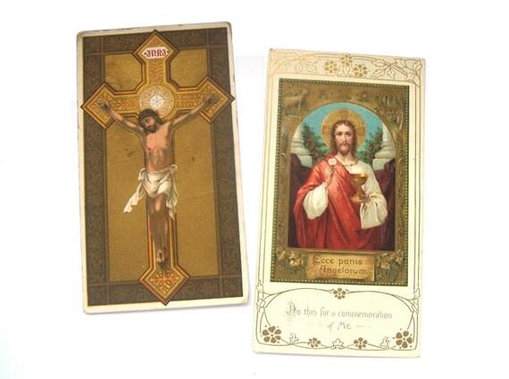 Antique Religious Jesus Christian / Catholic Keepsake Cards - early 1900s