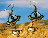 Alien Abduction of Cows Earrings Gold Tone