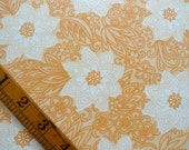 Vintage Sheet Fabric Piece, Apricot Floral Print, Sewing Supplies