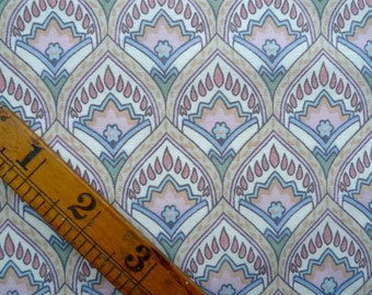 Vintage Fabric Remnant Piece, Ornate Pattern with Small Flowers, Sewing Supplies