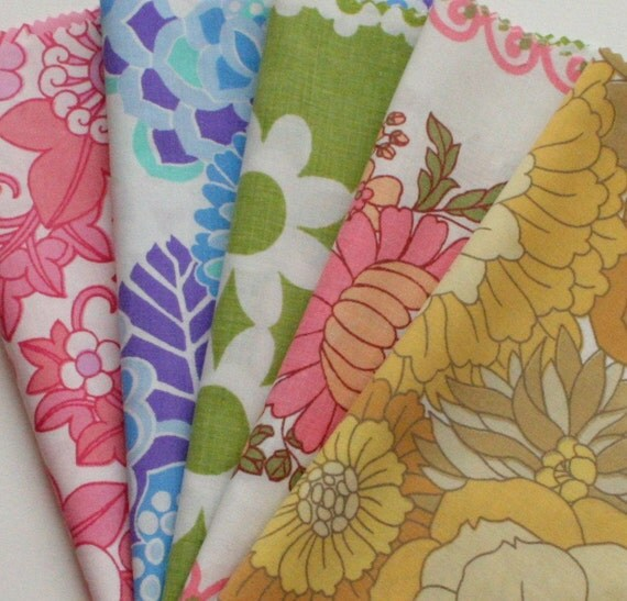 Retro Floral Fabric Pack, 10 pieces, Sewing Supplies