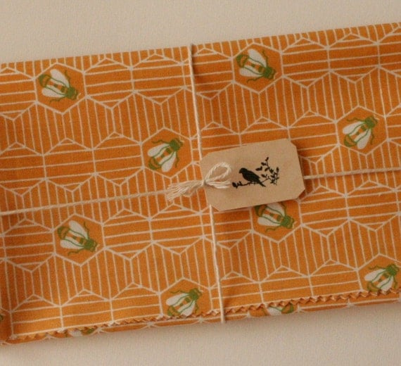 Vintage Sewing Fabric, Honeycomb and Bee Print, Kitsch