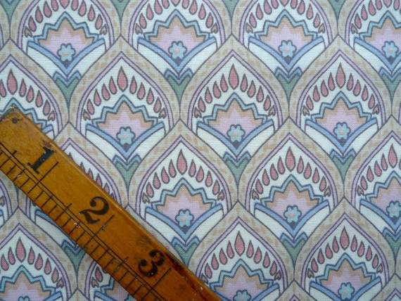Vintage Fabric Fat Quarter, Ornate Pattern with Small Flowers, Sewing Supplies