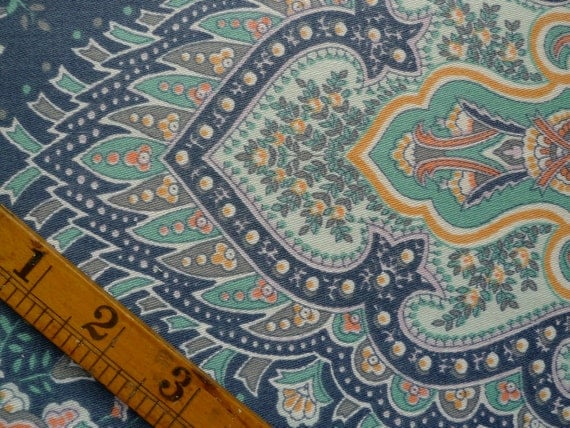 Rare Vintage Fabric, Ornate Pattern, Cotton, Remnant Piece