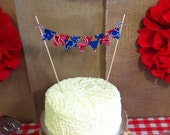 Blue & Red Bandana Cake Topper, Fabric mini cake banner bunting, Western Cowboy Birthday party decoration, photo prop