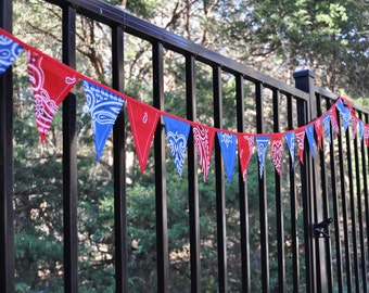 "Extra long ""Mini"" Blue & Red Bandana Banner Bunting, Western, Cowboy, Horse, Barn, Birthday party decoration, photo prop"