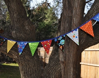 Boys Rockets fabric banner bunting, Outer Space/Astronaut Birthday party or room decor, primary colors, photo prop