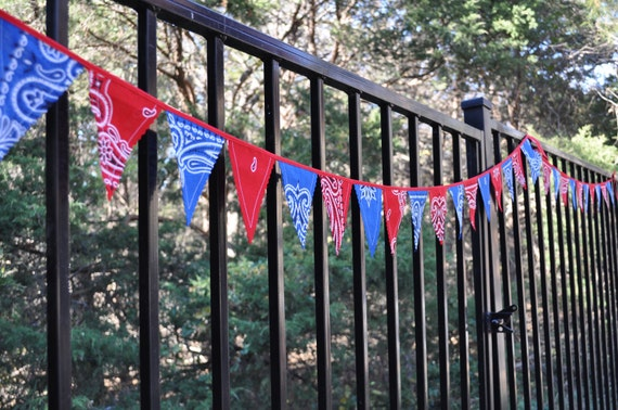 "Extra long ""Mini"" Blue & Red Bandana Banner Bunting, Western, Cowboy, Horse, Barn, Birthday party decoration, photo prop"