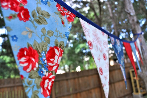 Prairie Paisley 2, Red, White & Blue Patriotic fabric pennant banner bunting, 4th of July decoration, photo prop