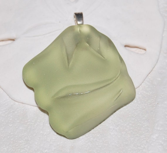 Peridot lime green recycled glass sea glass style pendant