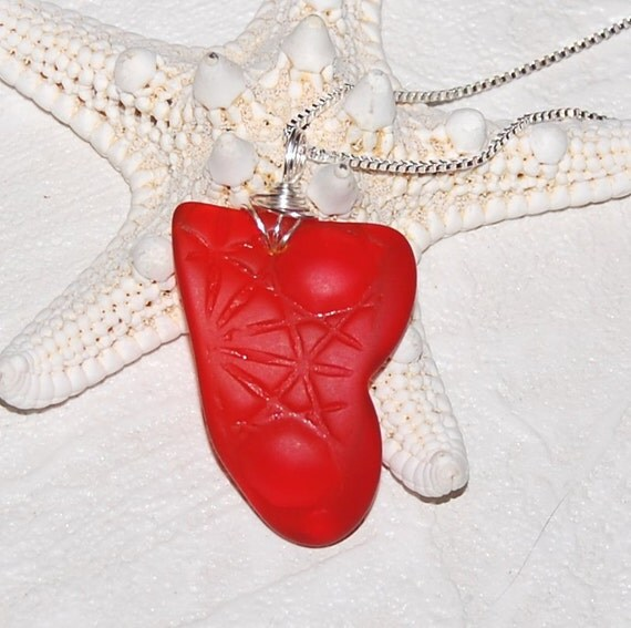 Radiant Red sea glass style recycled glass necklace