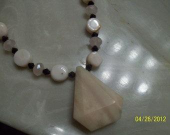pink opal  and swarovski crystal necklace