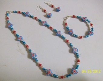 lamp work glass and fresh water pearls 3 pc set alice in wonderland theme