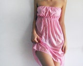 SALE until Nov11 // Pink Strapless  women camisole dress reconstructed from vintage slip size S or M - OOAK