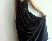 Black silk satin and vintage camisole lace dress - eco friendly - size M or L  - OOAK