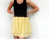 20% SALE until Dec 5 - Black and yellow tiered printed mini dress - OOAK - size S