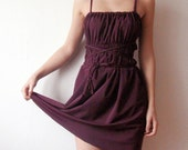 15% OFF - Summer Wine - Convertible plum Mini dress with braided straps - burgundy grecian dress fashion - exclusively by WhimsyTime