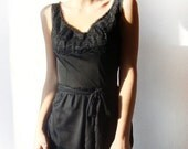 SALE - Black long dress with lace vintage slip, long black gown, reconstructed, one of a kind dress - eco friendly - size S  - OOAK