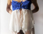 Ready to ship White and electric blue camisole dress with white stretch lace reconstructed from a vintage slip size XS or S