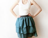 SALE - Green Cotton petals skirt with black elastic waistband - casual wear or party wear - day to night skirt - size S or M