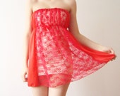 Sheer Red Lace Strapless women camisole dress reconstructed from vintage slip, bright lingerie,  fashion, summer fashion