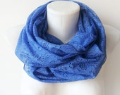Deep Blue Lace - cobalt blue hand dyed scarf - Circle Scarf Soft Infinity Scarf - WhimsyTime - Limited Edition -