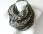Little Flowers - black and beige printed chiffon scarf - Circle Scarf Soft Infinity Accesory - spring cowl, scarf, over the shoulders