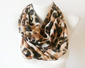 Animal Print - orange, white, black print - Circle Scarf Soft Infinity Scarf - cowl, scarf, over the shoulders - WhimsyTime