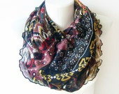Tribal Spring - red, beige, black - modern Circle Scarf Soft Infinity Scarf - geometric cowl, scarf, over the shoulders - WhimsyTime