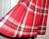 SALE mark down from 85 ... vintage wool skirt ... red TARTAN skirt WINTER Wool Vintage cozy ...