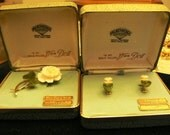 vintage jewels ...  IVORY JADE original Box Set BROOCH and Earrings Van Dell  ...